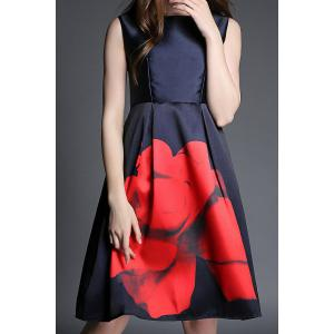 Vintage Sleeveless Round Collar Floral Print Women's Dress - RED WITH BLACK L