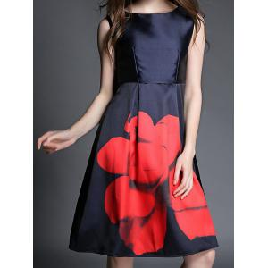 Vintage Sleeveless Round Collar Floral Print Women's Dress