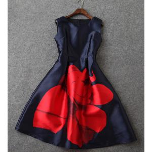Vintage Sleeveless Round Collar Floral Print Women's Dress - RED/BLACK L