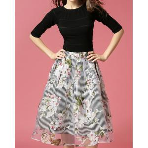 Vintage Round Neck Half Sleeve Bowknot Embellished Blouse + Printed Skirt Women's Twinset - Black - S