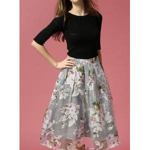Vintage Round Neck Half Sleeve Bowknot Embellished Blouse + Printed Skirt Women's Twinset - BLACK S