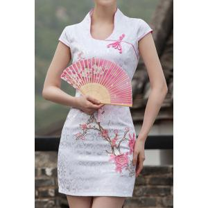 Vintage Stand-Up Collar Short Sleeve Embroidered Women's Dress -