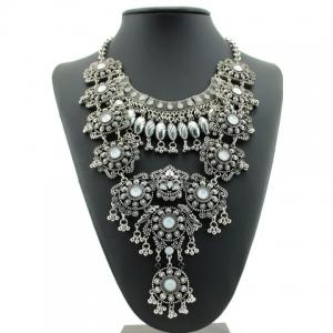 Ethnic Beads Layered Necklace For Women - Silver