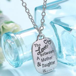 Stylish Letter Printed Square Shape Necklace For Women -