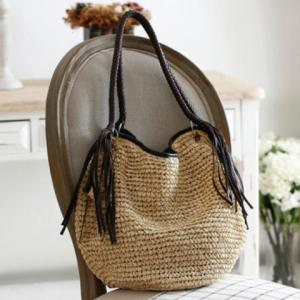 Fringe Weaving Straw Beach Bag -