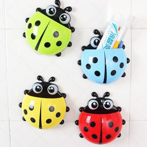 Multifunctional Lady Beetle Shaped Toothbrush / Spoon / Fork Holder with 3 Suckers - Random Color - W20 Inch * L31.5 Inch