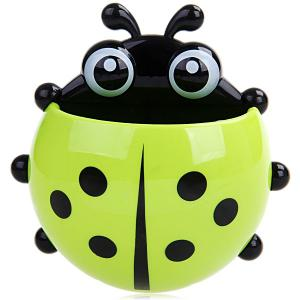 Multifunctional Lady Beetle Shaped Toothbrush / Spoon / Fork Holder with 3 Suckers - RANDOM COLOR