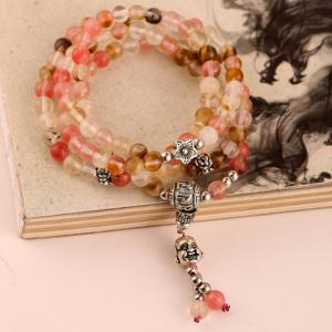 Flower Faux Crystal Beads Layered Bracelet - COLORMIX