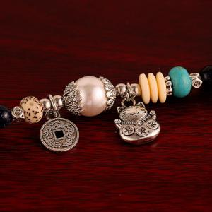 Layered Vintage Beads Coin Cat Pendant Bracelet -