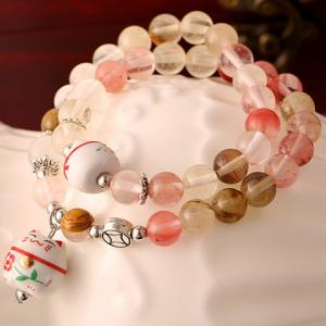 Layered Faux Crystal Cat Pendant Bracelet -