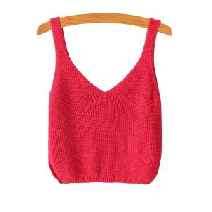 V Neck Ribbed Knitted Cropped Tank Top