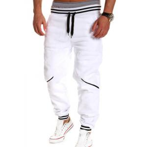 Contrast Striped Drop Crotch Joggers - White - M