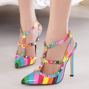 Trendy Color Block and Rivets Design Pointed Toe Women's Sandals -