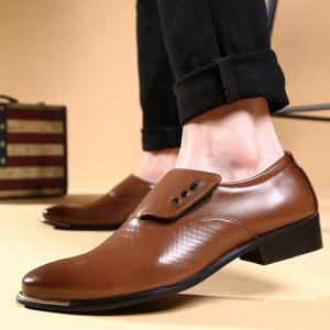 Stylish Metallic and PU Leather Design Men's Formal Shoes - COFFEE 42
