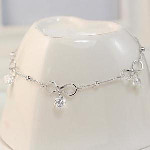 Fake Crystal Hollowed Bowknot Anklet - Silver