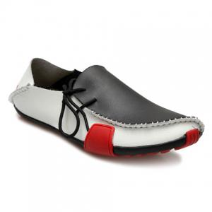 Simple Color Block and Stitching Design Men's Loafers