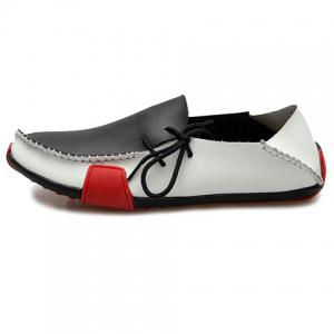 Simple Color Block and Stitching Design Men's Loafers - WHITE/BLACK 41