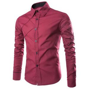 Fashion Shirt Collar Slimming Checked Sutures Design Long Sleeve Polyester Shirt For Men