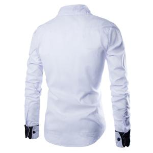 Fashion Shirt Collar Slimming Checked Sutures Design Long Sleeve Polyester Shirt For Men - WHITE M