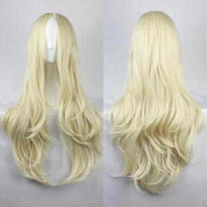 Fashion Fluffy Centre Parting Charming Long Wavy Synthetic Wig For Women - Light Gold - 36