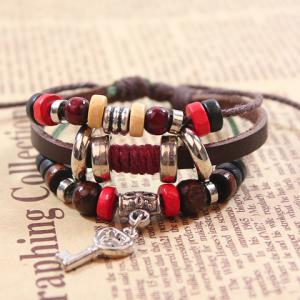 Cute Colored Beads Key Pendant Design Bracelet For Women - BROWN