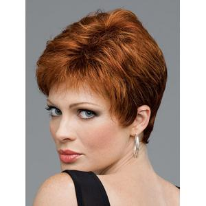 Fashion Sexy Super Short Curly Fluffy Neat Bang Heat Resistant Fibre Women's Synthetic Golden Wig -