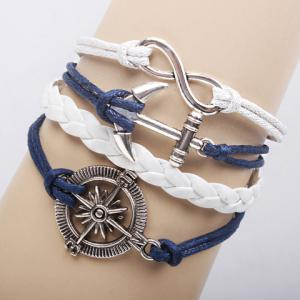Classic Weaved Chain Anchor Rudder Decorated Bracelet For Women - White
