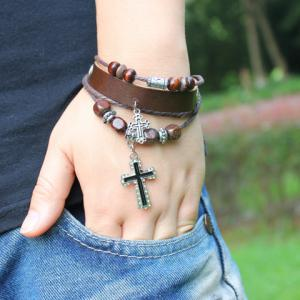 Beads Cross Pendant Layered Bracelet -