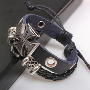Punk Cross Decorated Layered Chain Bracelet For Men -