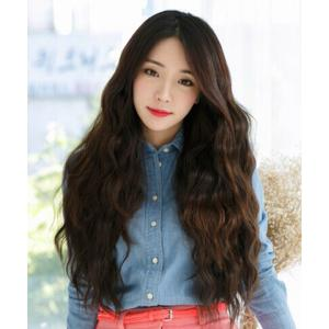 Fashion Side Bang Deep Brown Ladylike Long Curly Synthetic Wig For Women - DEEP BROWN