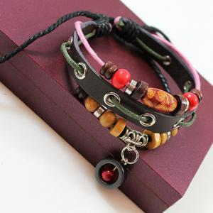 Cute Colored Beads Decorated Layered Bracelet For Women - COFFEE