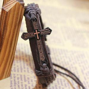 Vintage Scripture Cross Faux Leather Charm Bracelet -