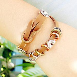 Knotted Faux Leather Chain Bracelet -