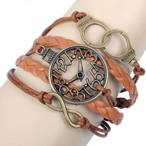 Clock Shape Design Layered Bracelet - Coffee