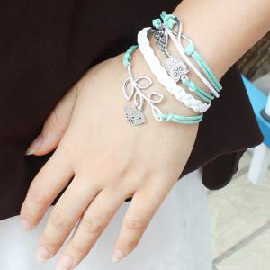 Vintage Owl Leaf Bird Weaved Chain Bracelet For Women