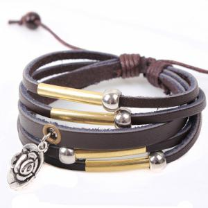 Flower Pendant Faux Leather Layered Bracelet - COFFEE