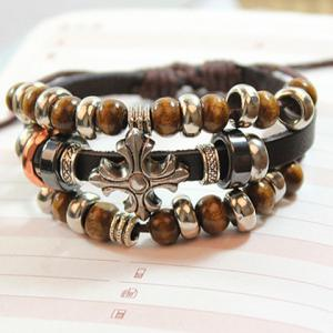 Ethnic Beads Cross Layered Chain Bracelet For Women -