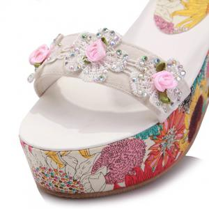 Sweet Flowers Pattern and Applique Design Women's Sandals -