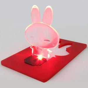 Ultra-slim Fold-up LED Pocket Rabbit Wallet / Purse Lamp / Light Credit Card - Random Color - For Iphone 7