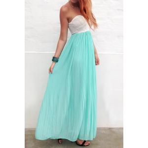 Chic Strapless High Waist Sleeveless Pleated Women's Maxi Dress