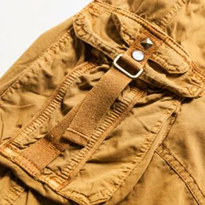 Military Style Stylish Multi-Pocket Solid Color Straight Leg Cotton Blend Shorts For Men -