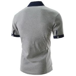 Fashion Turndown Collar Slimming Anchor Embroidery Color Block Splicing Short Sleeve Polyester Polo T-Shirt For Men - LIGHT GRAY L