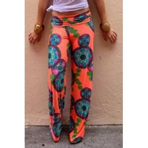 Fashionable Elastic Waist Floral Print Loose-Fitting Women's Exumas Pants
