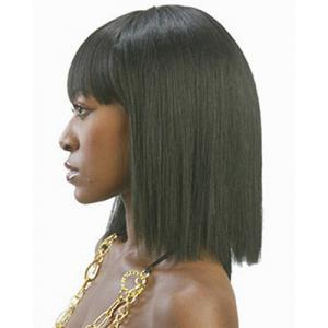 Fashion Full Bang Black Spiffy Medium Straight Synthetic Capless Wig For Women -