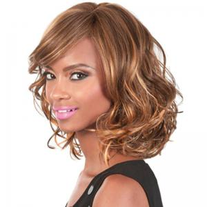 Fashion Side Bang Brown Mixed Charming Medium Length Wavy Synthetic Capless Wig For Women -