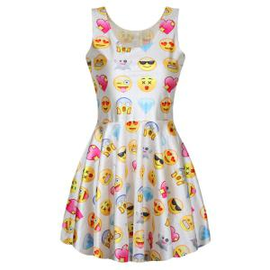 Stylish Scoop Neck Sleeveless Full Emoji Print A-Line Women's Sundress
