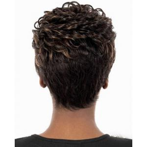 Fashion Full Bang Brown Mixed Spiffy Short Curly Synthetic Capless Wig For Women -