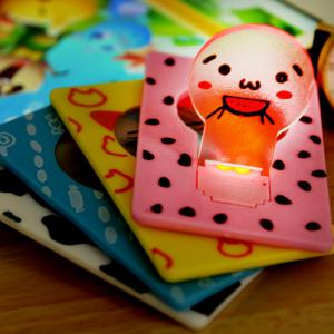 Mini LED Wallet Credit Card Light Portable Pocket Night Lamp Folding Bulb - Pink - W71inch * L79inch