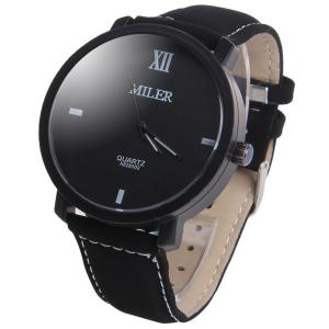 Miler A828502 Analog Quartz Watch with Nubuck Leather Strap for Men - WHITE AND BLACK