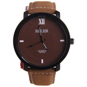 Miler A828502 Analog Quartz Watch with Nubuck Leather Strap for Men - WHITE/BLACK